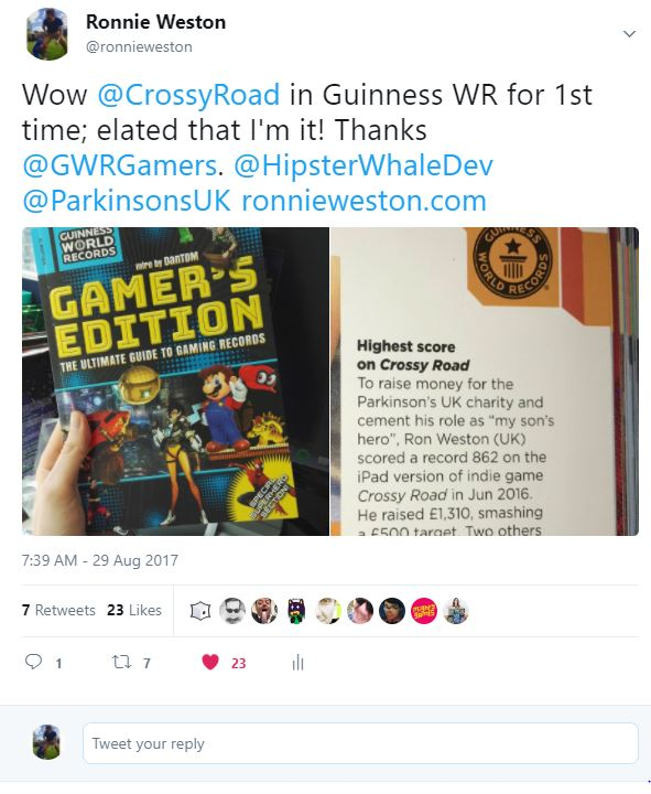 ronnie weston crossy road guinness world record highest score